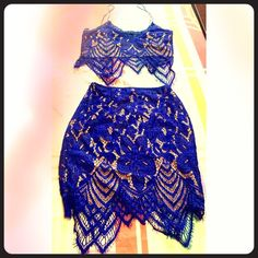 Cobalt blue 2 piece lace outfit Worn 1x for my birthday for a few hours In excellent like-new conditions  Had it tailored to a size 0-2 to suit my body but can fit a size small /medium because my tailor only took it in and didn't cut any fabric so the thread can be pulled apart to regular size.  Price is firm and a definite steal because I paid wayyy more than listed.   I never wear a bday outfit twice so I need gone :)  Hugs curves beautifully.  Added a pic of myself wearing it.   Color is…