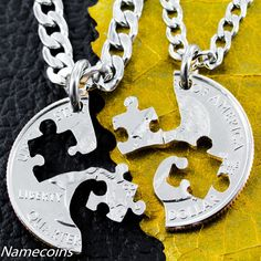 Puzzle Piece Necklace couples or friendship by NameCoins on Etsy, $29.99