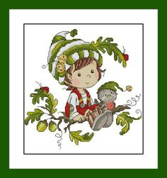 Autumn elf. Digital Item, Instant PDF, Digital Download, Cross Stitch Pattern, Needlework, Embroidery by 100patterns on Etsy