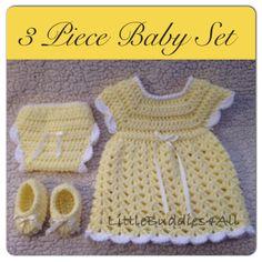 3 piece newborn yellow dress set