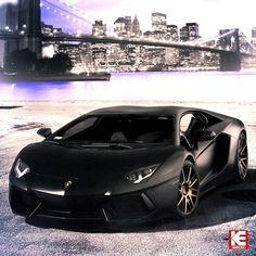 Dark Lamborghini Aventador on the edge of the city!