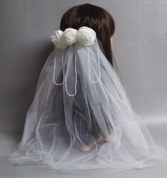 Wedding Veil White With Pearls-White by IrmasElegantBoutique