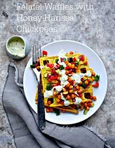 Gram flour, crushed chickpeas, warm spices and wild greens + honey-harissa chickpeas = a healthy, fun, gluten-free and dairy-free breakfast, brunch or light supper! kelliesfoodtoglow.com