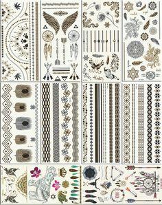Metallic Temporary Tattoos, 10 Sheets, 160+ Designs: Toys & Games