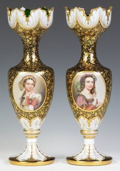 Two Bohemian Vases With Porcelain Plaques   c. 19th Century