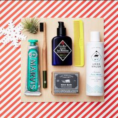 The perfect Christmas gift idea for boyfriend, brother or dad: The Grooming Box for Him from Valleybrink Road. Great for gifting and just in time for the holidays, this hand-picked assortment of men's grooming essentials includes Ursa Major fantastic face wash, Jack Black double-duty moisturizer, a Los Poblanos man bar, a tube of Marvis toothpaste, an Ernest Supplies wooden toothbrush, an air plant, and a Bryd Hairdo Product pocket comb. Shop it here!