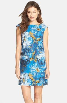 Tahari Floral Print Linen Blend Shift Dress (Regular & Petite) available at #Nordstrom