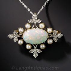 Edwardian Opal, 2,75ct, Pearl, and Diamond Necklace/ Brooch platinum on gold  1910 1837$ #necklaces