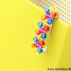 Multicoloured Handcrafted Bright Swarovski Crystal Hair Barrette Slide
