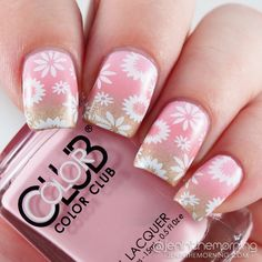 Floral Stamped Pink and Gold Gradient  #nail #nails #mani #manicure #jeninthemorning #gradient