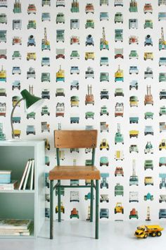 Clever work vehicles wallpaper | 10 Quirky Wallpaper Designs- Tinyme Blog