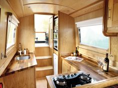 The Swallowtail's galley at the stern makes for sociable cruising Narrowboat Kitchen, Narrowboat Interiors, Canal Boat Interior, Sailboat Interior, Barge Interior, Best Interior, Interior Design, Canal Barge, Kitchen Surface