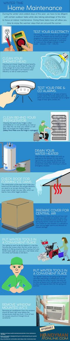 winter home maintenance checklist - Instandhaltung des Wohnraums Home Renovation, Home Remodeling, Kitchen Remodeling, Home Maintenance Schedule, Budget Planer, Home Inspection, Home Safety, Home Repairs, Home Ownership
