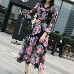 2018 Spring Summer New Hot Sale Dress Women V-Neck Lace Patchwork Long Sleeve Silk Chiffon High Quality Dress Vintage Retro Dress Vintage, Retro Vintage, Silk Chiffon, Lace Dress, Spring Summer, Fashion Outfits, Long Sleeve, Hot, Casual