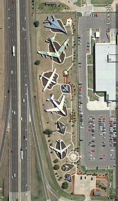 Aircraft on display along Interstate 40 in Oklahoma City, Oklahoma - Near Tinker Air Force Base. Image from Google Earth.