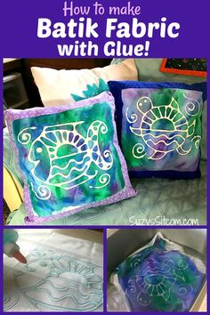 Making your own fabric designs is a lot of fun. In this tutorial, Ill show you how to create your own batik fabric with washable glue! This is a great project even for the kids. Included are two free patterns to get you started! Fabric Painting, Fabric Art, Fabric Crafts, Paint Fabric, Stencil Fabric, Scrap Fabric, Canvas Fabric, Sewing Crafts, Projects For Kids
