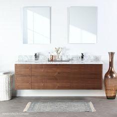 Austin Teodor Modern Wall Mount American Black Walnut Vanity w/ Blumotion®, Double Sink Master Bathroom Vanity, Double Sink Bathroom, Double Sink Vanity, Washroom, Master Bedroom, Modern Sink Vanity, Vanity Sink, Wood Vanity, Interiors
