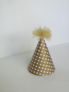 GOLDEN BIRTHDAY party hat. $3.00, via Etsy.