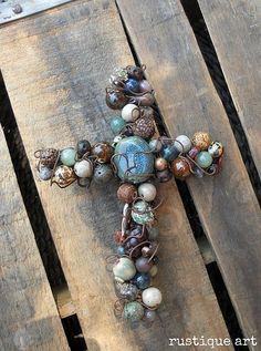 Rustic Beaded Wire Cross