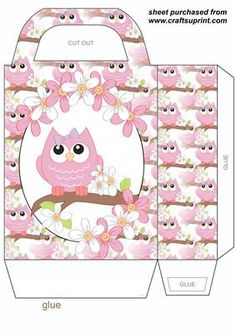 Spring owl gift bag 2 on Craftsuprint designed by Stephen Poore - Spring owl gift bag,you will need to print 2 sheets to make gift bag - Now available for download!