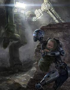 SF, fantasy, post-apocalypse, and other genre visual arts. Explore the visual aspects of imagined worlds. All speculative visual arts are. Foto Fantasy, Sci Fi Fantasy, Arte Robot, I Robot, Arte Cyberpunk, Arte Obscura, Science Fiction Art, Fiction Writing, Science Art