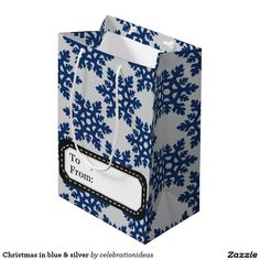 #xmas #christmas #snowflakes #blue #silver #giftbag in differerent products too. Check more at www.zazzle.com/celebrationideas