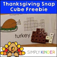 Thanksgiving Snap Cube Math Center Freebie - Simply Kinder