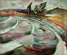 """The Wave"" by Edvard Munch.  Interesting color choices."