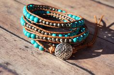 Leather Wrap Bracelet Chan Luu inspired Turquoise by fleurdesignz