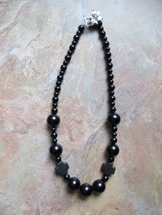 "22"" All Black Beaded with few crystals. http://www.shop.donnasjewelryboxdallas.com/"