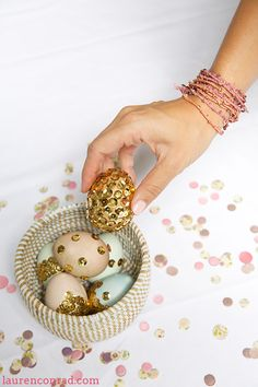Inspired Idea: Sequin Easter Eggs. Cheat this idea with JosyRose sequin gold trim! http://www.josyrose.com/p-metallic_gold_sequin_swirl_chainette_trim_12mm-9981.aspx