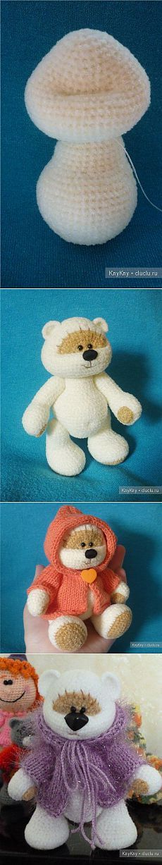 Bear Knitted / Crochet toys and crochet, charts and descriptions / KluKlu. Crochet Bear, Crochet Toys, Bead Crafts, Quilling, Crochet Necklace, Crochet Patterns, Cross Stitch, Teddy Bear, Knitting