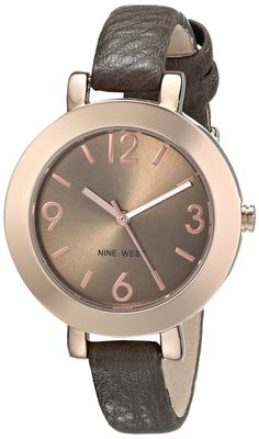 Nine West Rose Gold Dial Watch Brown Strap Stunning look