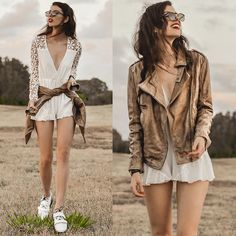 Viparo  Latte Stonewash Premium Nz Lambskin Leather Jacket, Senso Daria Boot, Choies Angel Romper, Zero Uv Vintage Framed Sunglasses