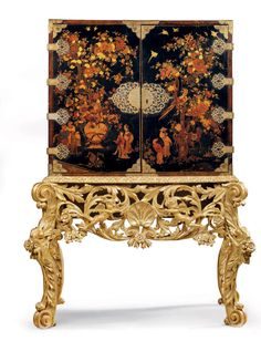 date unspecified A WILLIAM AND MARY BRASS-MOUNTED AND POLYCHROME AND GILT-JAPANNED CABINET ON A GILTWOOD STAND LATE 17TH/EARLY 18TH CENTURY  Price realised  GBP 21,250