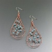 #Copper Wire Wrapped Tear Drop #Earrings with Amazonite. Casual Elegance   http://www.johnsbrana.com/copper-wire-wrapped-tear-drop-earrings-with-amazonite.html  $85.00