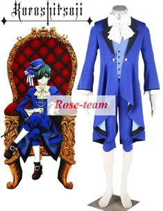 Fantasia Anime Lolita-Black Butler Kuroshitsuji Ciel Phantomhive Boy Lolita Blue Suit Anime Cosplay Costume C0049