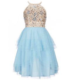 d845c853c82b Tween Diva Big Girls 7-16 Beaded Halter-Neck Tulle Dress Dresses For Tweens
