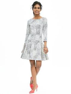 Textured Fit-and-Flare Dress   Banana Republic