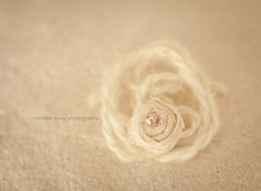 The Beauty: newborn & baby Classic PINK PEARL rolled flower mohair tieback - photography prop headband. $14.00, via Etsy.