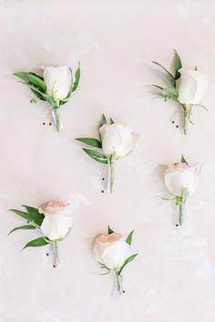 Boutonnieres by Amanda Eloise Photography. Blush roses and greenery. Rachel Graham, White Boutonniere, Boutonnieres, Floral Wedding, Wedding Flowers, Columbus Ohio Wedding, Blush Roses, Floral Design, Wedding Planning