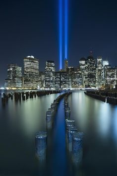 Tribute In Light  Amazing Photo! Kudos and credit to whoever captured this.