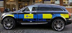 Audi S-Line Turned Into a Police Patrol Car British Police Cars, Old Police Cars, Swat Police, Police Patrol, Military Police, Emergency Vehicles, Police Vehicles, Radios, Audi Q7 S Line