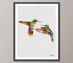 Watercolor bird poster bird watercolor print bird art poster watercolor decor hummingbird watercolor hummingbird decor print art A120