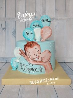 Torta Baby Shower, Baby Shower Cakes For Boys, Baby Cake Design, Cake Decorating Frosting, Cake Models, Elephant Nursery Decor, First Birthday Decorations, Baby Birthday Cakes, Hello Kitty Cake
