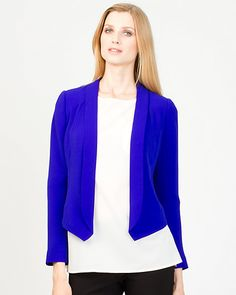 Crepe Shawl Collar Blazer - in cobalt and black