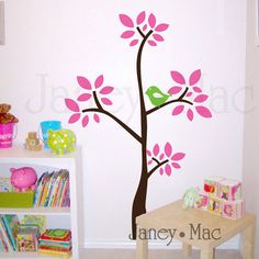 Simple Modern Tree Wall Decal with Birds  by JaneyMacWalls on Etsy, $65.00 72h 42w