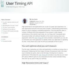 User Timing API at HTML5 Rocks