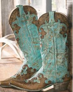 Brown & Turquoise Boots