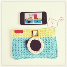 crochet camera phone case